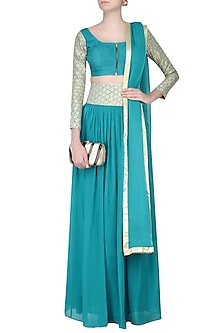 Turquoise Blue Zari Embroidered Top with Skirt by Priyam Narayan