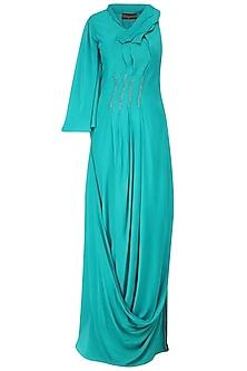 Turquoise Mukaish Work Pleated Gown by Priyam Narayan