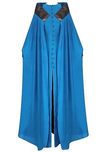 Blue Split Gown with Cutwork Cape by Priyam Narayan