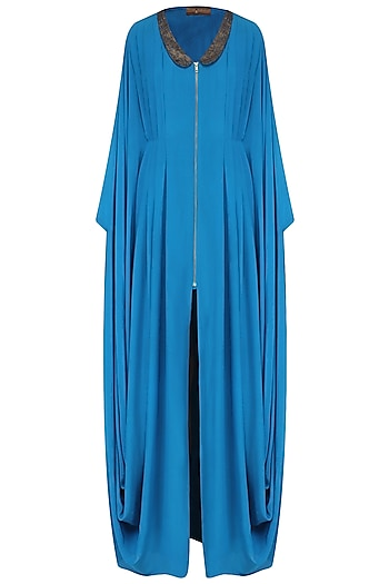 Blue Hand Cut Work Cowl Draped Kaftan by Priyam Narayan