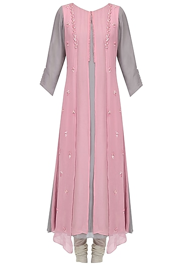 Pink Anchor Thread Floral Embroidered Kurta Set by Priyam Narayan