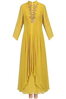Mustard Floral Embroidered Kurta Set by Priyam Narayan
