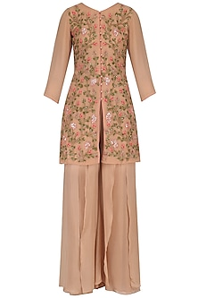 Beige Floral Embroidered Kurta and Palazzo Pants Set by Priyam Narayan