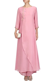 Mauve Floral Embroidered Kurta and Palazzo Pants Set by Priyam Narayan
