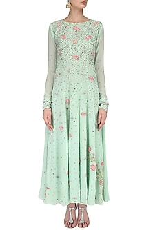Green Floral Embroidered Anarkali Set by Priyam Narayan