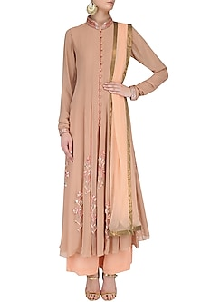 Beige Floral Embroidered Anarkali Set by Priyam Narayan