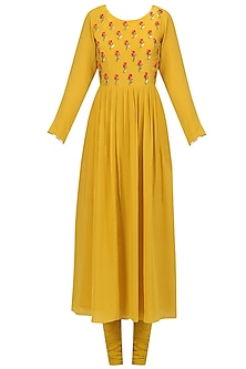 Yellow Floral Embroidered Anarkali Set by Priyam Narayan