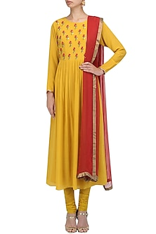 Yellow Floral Embroidered Anarkali Set by Priyam Narayan