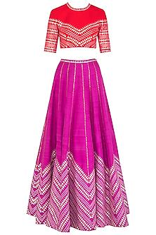 Purple Embroidered Lehenga Set by Priyal Prakash