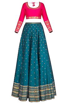 Teal Embroidered Lehenga Set by Priyal Prakash