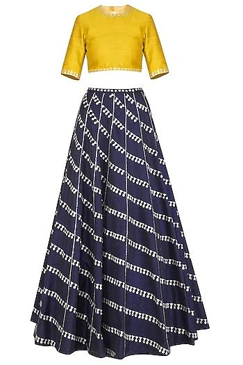 Navy Blue Embroidered Lehenga Set by Priyal Prakash