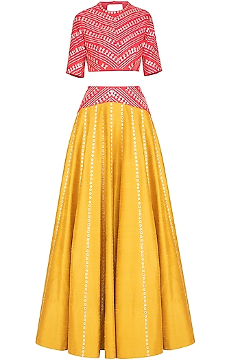 Mustard & Red Embroidered Lehenga Set by Priyal Prakash