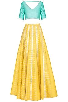 Yellow & Mint Embroidered Lehenga Set by Priyal Prakash