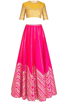 Pink & Mustard Embroidered Lehenga Set by Priyal Prakash