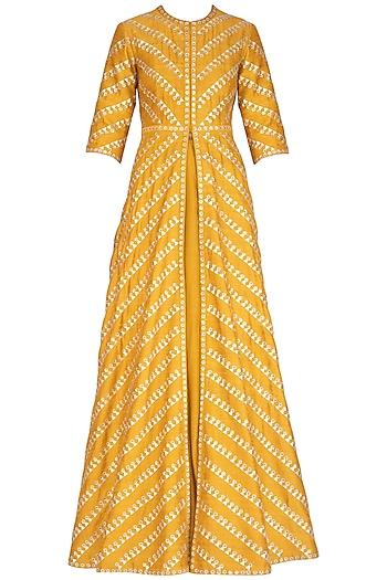 Mustard Embroidered Jacket With Skirt by Priyal Prakash