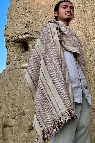 Beige Handwoven Pashmina Scarf by Lena Ladakh Pashmina