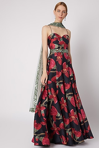 Black Printed Dress With Embellished Dupatta & Belt by Prints By Radhika