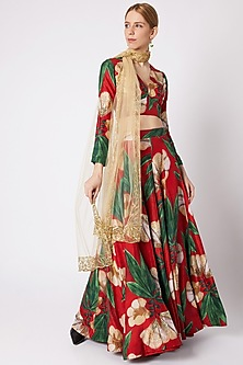 Red Embellished Lehenga Set by Prints By Radhika