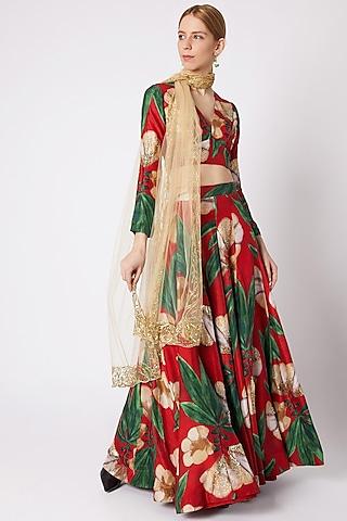 Red Embellished Lehenga Set by Prints By Radhika