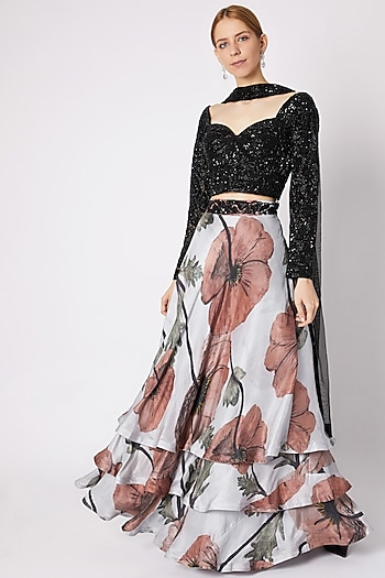 Black Embellished Layered Lehenga Set by Prints By Radhika