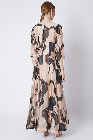 Nude Embellished Dress With Dupatta by Prints By Radhika