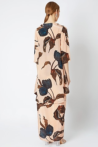 Nude Embellished Cape Set by Prints By Radhika
