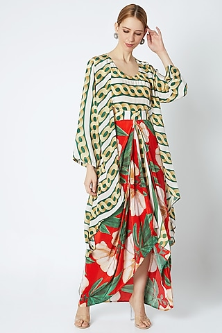 Red Draped Dress With Cape by Prints By Radhika
