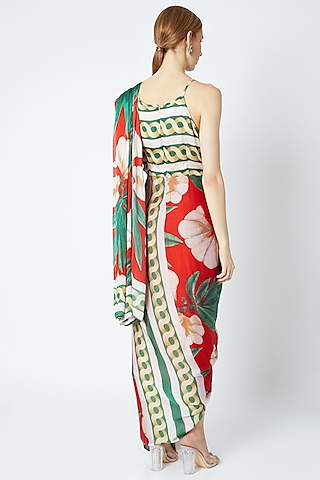 Red Draped Saree Gown by Prints By Radhika