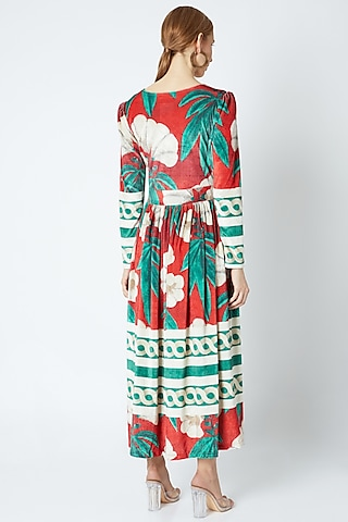 Red Velvet Dress With V-neck by Prints By Radhika