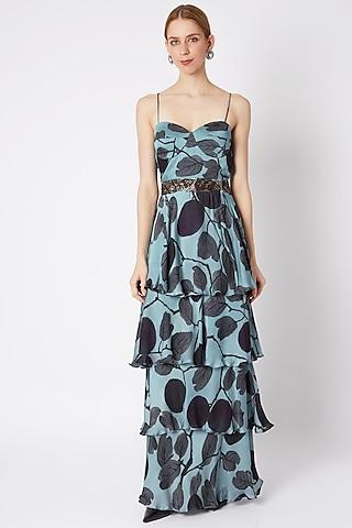 Sky Blue Ruffled Corset Dress by Prints By Radhika