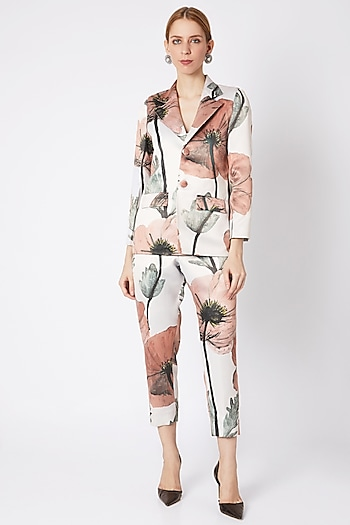 Beige Collared Blazer With Pants by Prints By Radhika