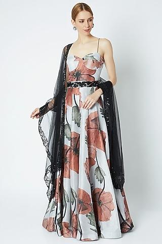 Beige Printed Dress With Embellished Dupatta & Belt by Prints By Radhika