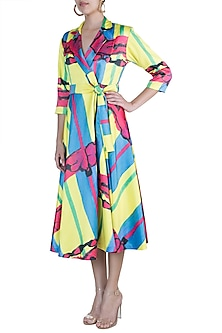 Multi Colored Abstract Printed Blazer Dress With Belt by Prints By Radhika