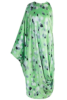 Green Printed One Side Sleeveless Draped Dress by Prints By Radhika