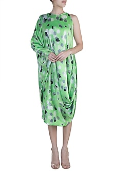 Green Printed One Side Sleeveless Draped Dress by Prints By Radhika