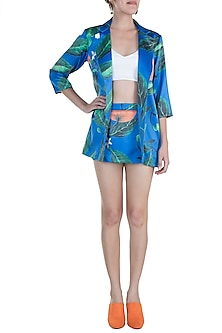 Blue Printed Blazer With Mini Skirt by Prints By Radhika