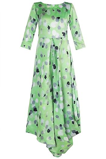 Green Printed Asymmetric Draped Jumpsuit by Prints By Radhika