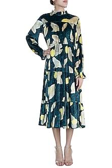 Deep Green Printed Tiered Midi dress by Prints By Radhika