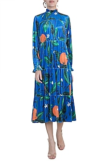 Blue Printed Tiered Midi dress by Prints By Radhika