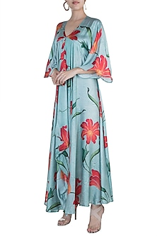 Light Blue Printed Draped Maxi Dress by Prints By Radhika
