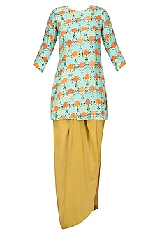 Blue Motif Print Kurta and Yellow Dhoti Skirt Set. by Prints By Radhika