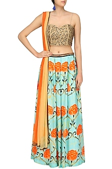 Blue Motif Print Lehenga Skirt and Golden Embellished Blouse by Prints By Radhika
