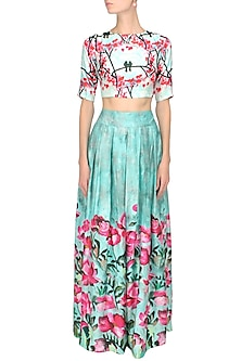 Aqua blue and pink floral printed box pleated flared skirt by Prints By Radhika