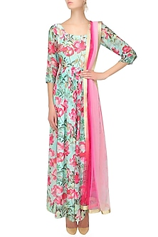Aqua blue and pink floral beads and sequins embroidered flared kalidaar anarkali set by Prints By Radhika