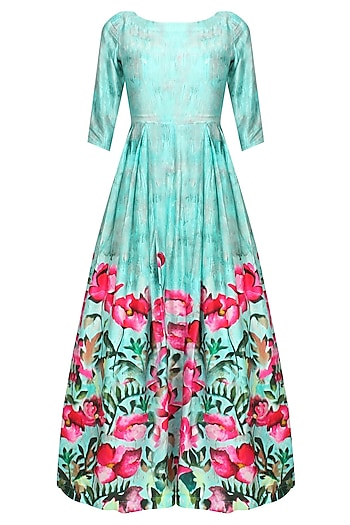 Aqua blue and pink floral printed pleated triangular cutout gown by Prints By Radhika