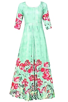 Aqua blue and pink floral cutdana embroidered pleated anarkali set by Prints By Radhika