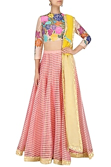 Pink and Beige Applique Work Lehenga Set by Param Sahib