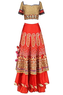 Gold and Red Layered Embroidered Lehenga Set by Param Sahib