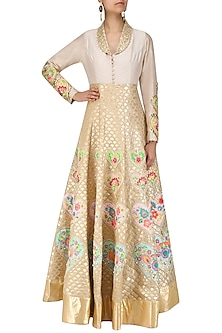 Grey and Gold Embroidered Jacket Dress by Param Sahib