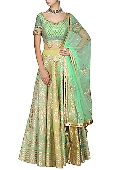 Mint and Yellow Block Printed Lehenga Set by Param Sahib